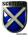 Scotland. Scottish Saltire Flag Shield Belt Buckle with display stand. TD2